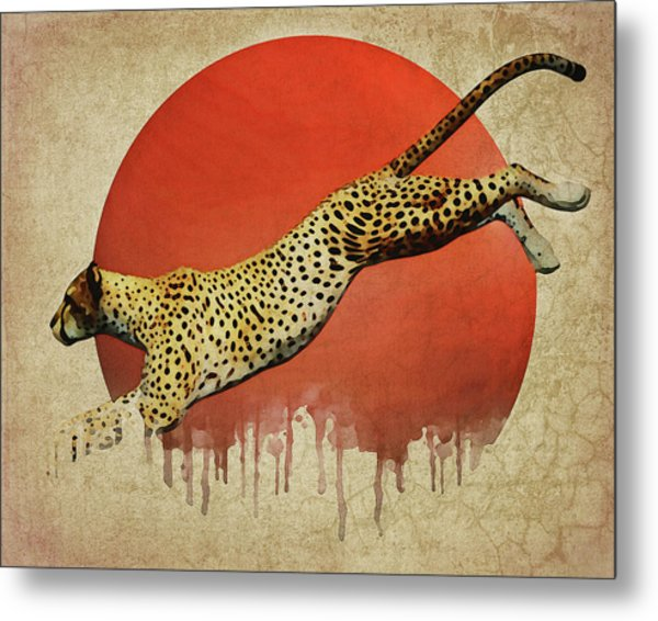 Metal Print featuring the digital art Cheetah On The Run by Jan Keteleer