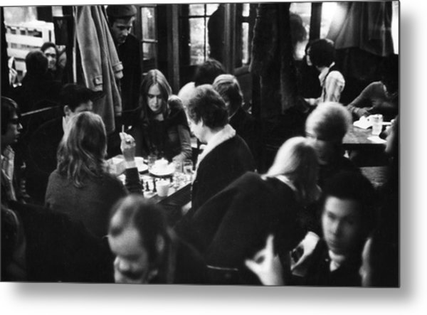 Chess At Cafe Fiagro Metal Print by Fred W. McDarrah