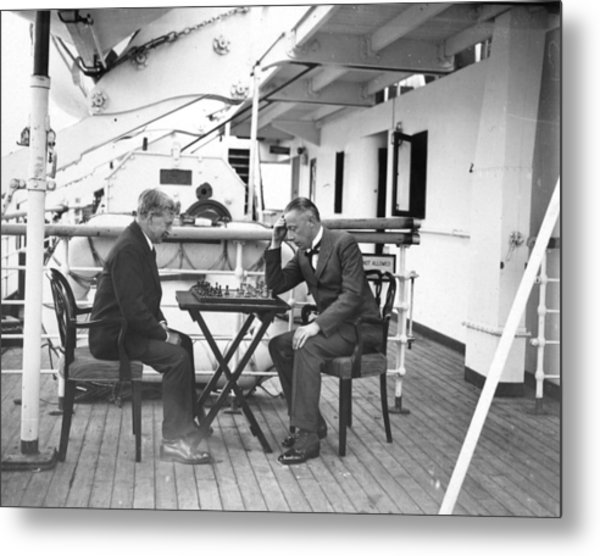 Chess On Board Metal Print by W. G. Phillips