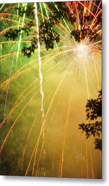 Yellow Fireworks Metal Print
