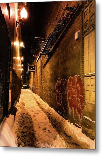 Chicago Alleyway At Night Metal Print