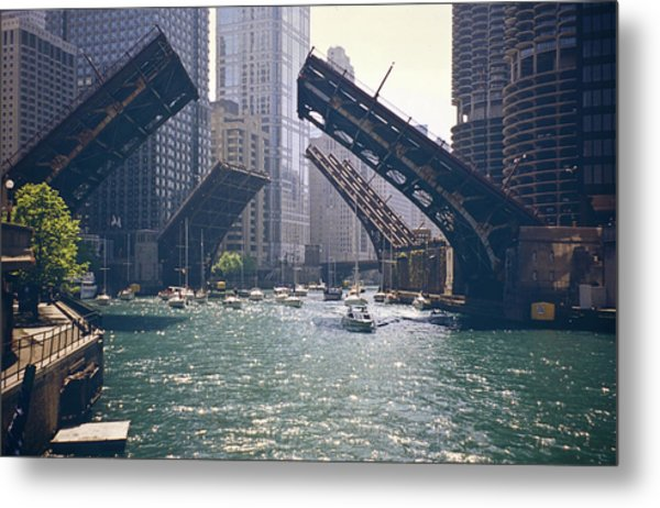 Chicago Bridges Metal Print by By Ken Ilio