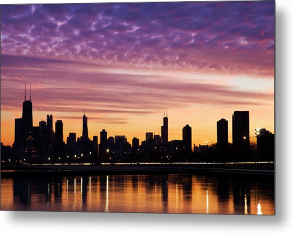 Chicago Downtown By Night Metal Print