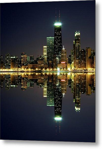Chicago Skyline Reflected On Lake Metal Print