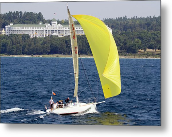 Chicago To Mackinac Yacht Race Sailboat With Grand Hotel Metal Print