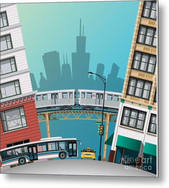 Chicago Traffic Metal Print
