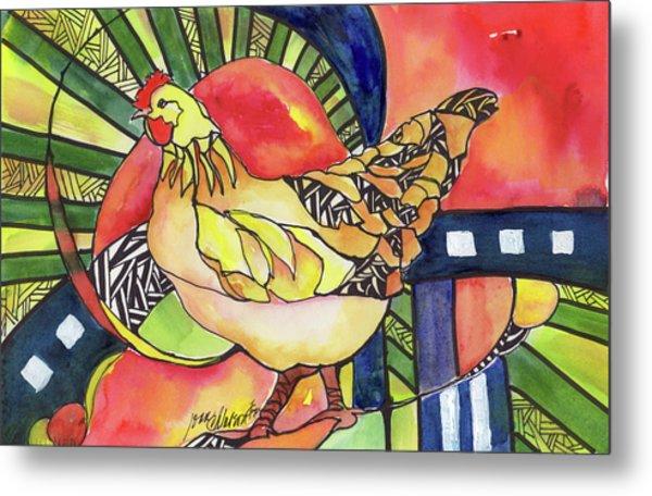 Chicken Red Metal Print