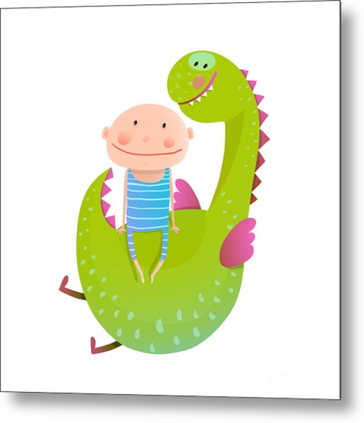 Child And Dragon Friendly Friendship Metal Print