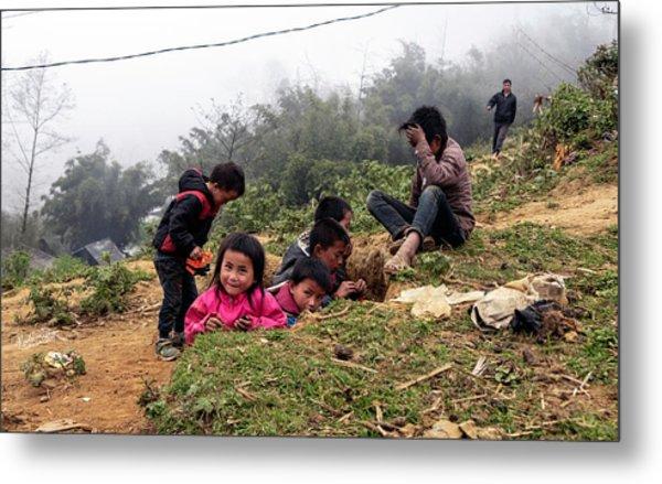 Children At Play - Sapa, Vietnam Metal Print