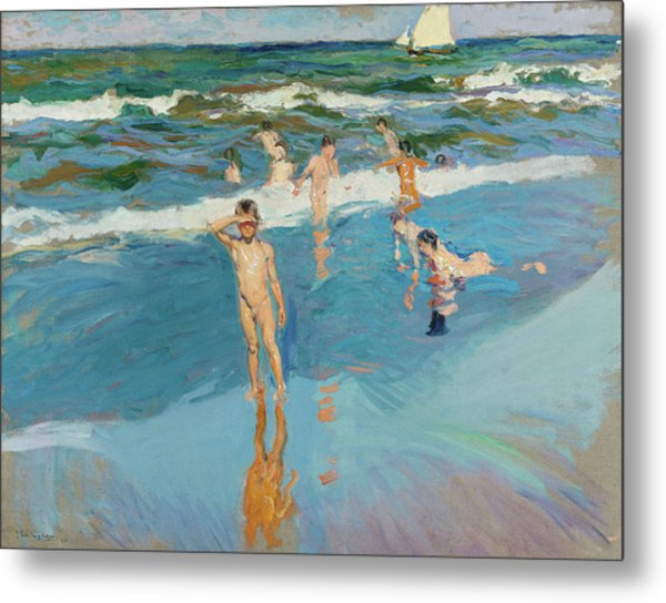 Children In The Sea, Valencia Beach, 1908 Metal Print