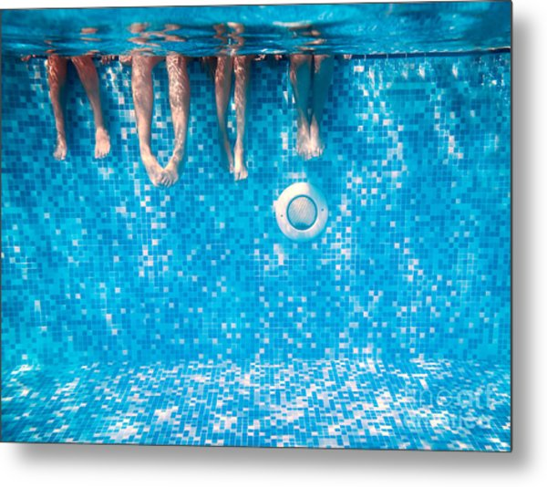 Childrens And Adults Legs Underwater In Metal Print by Kateryna Mostova