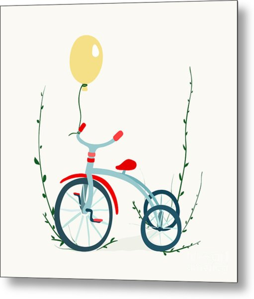 Childrens Tricycle Drawing. Childish Metal Print