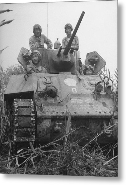 Chinese Army In Tank During Burma Campaign Metal Print by William Vandivert