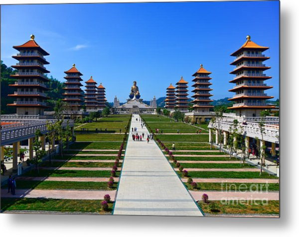 Chinese Temple And Golden Buddha Statue Metal Print