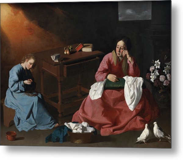 Christ And The Virgin In The House At Nazareth, 1640 Metal Print