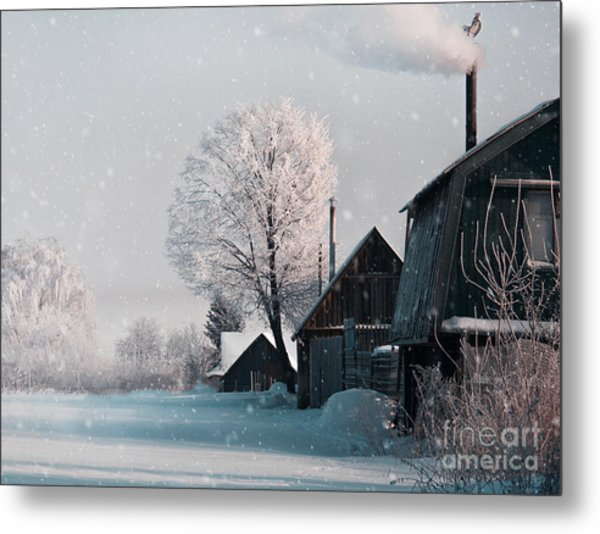 Christmas Landscape In Winter Village Metal Print