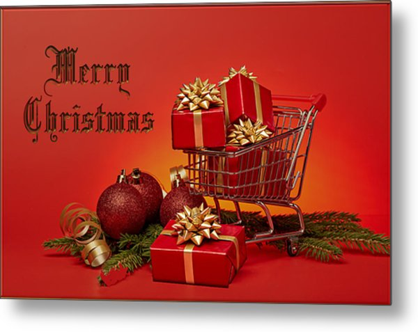 Christmas Shopping Trolley Metal Print