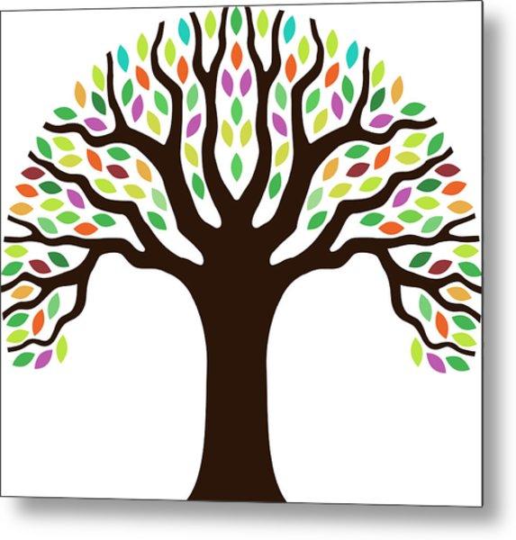 Chunky Little Tree Illustration Metal Print by Johnwoodcock