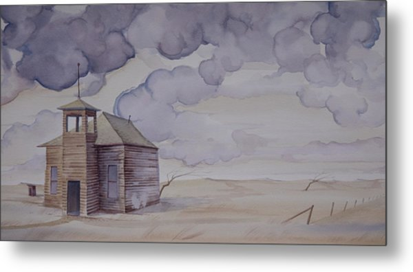 Metal Print featuring the painting Schoolhouse On The Hi Line by Scott Kirby