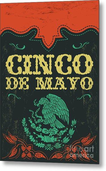 Cinco De Mayo - Mexican Holiday Vintage Metal Print