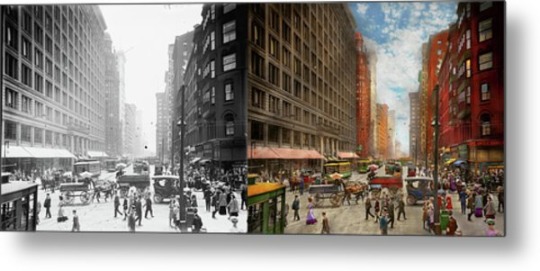 Metal Print featuring the photograph City - Chicago Il - Marshall Fields Company 1911 - Side By Side by Mike Savad