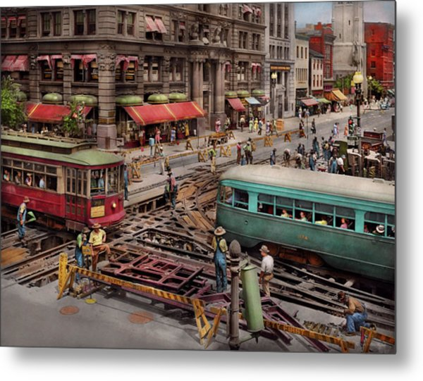 Metal Print featuring the photograph City - Dc - Road Closed For Repairs 1941 by Mike Savad