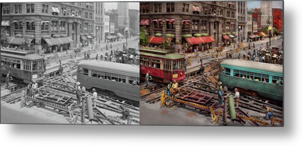 Metal Print featuring the photograph City - Dc - Road Closed For Repairs 1941 - Side By Side by Mike Savad