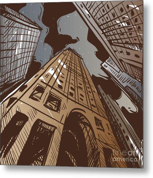 City Hand Drawn. Vector Illustration Metal Print