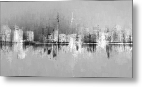 City In Black Metal Print