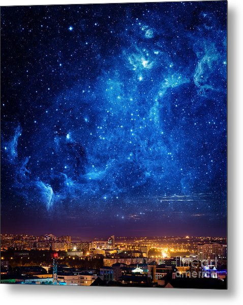 City Landscape At Nigh With Sky Filled Metal Print