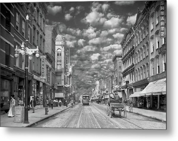 Metal Print featuring the photograph City - Ny - Main Street Poughkeepsie, Ny - 1906 - Black And White by Mike Savad