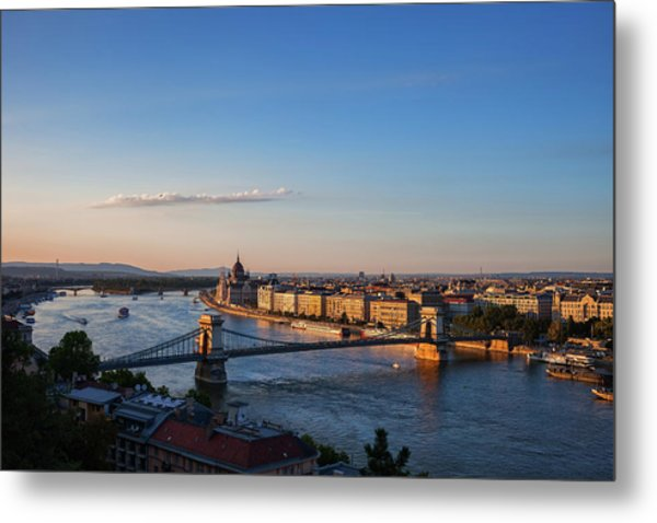 City Of Budapest And Danube River At Sunset Metal Print