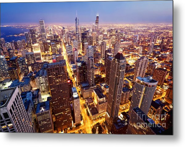 City Of Chicago. Aerial View  Of Metal Print