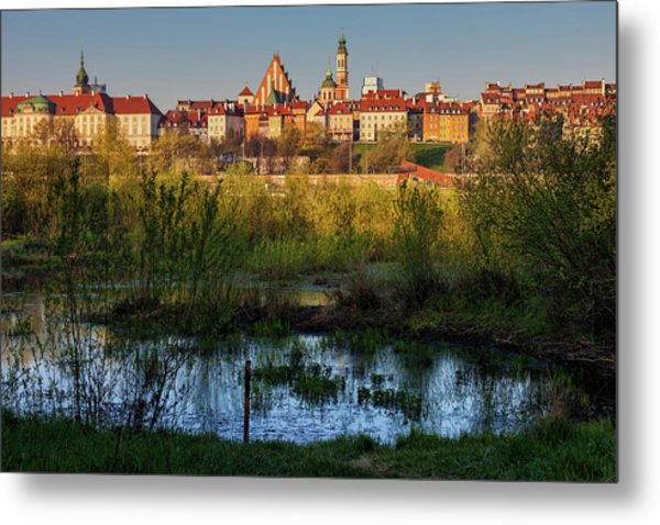 City Of Warsaw At Sunrise In Poland Metal Print