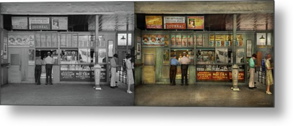 Metal Print featuring the photograph City - Oklahoma Ok - A Magazine For The Ride Home 1939 - Side By Side by Mike Savad