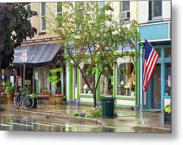 Metal Print featuring the photograph City - Owego Ny - On A Rainy Day by Mike Savad