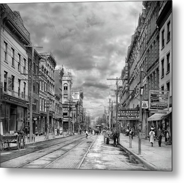 Metal Print featuring the photograph City - Poughkeepsie Ny - The Ever Changing Market Place 1906 - Black And White by Mike Savad