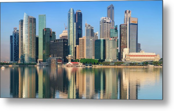 City Skyline - Singapore After Sunrise Metal Print by Hadynyah