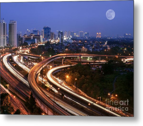 City Skyline With Multiple Flyovers Metal Print