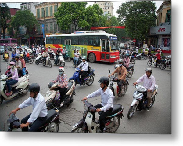 City Traffic At Rush Hour, Hanoi Metal Print by Grant Faint