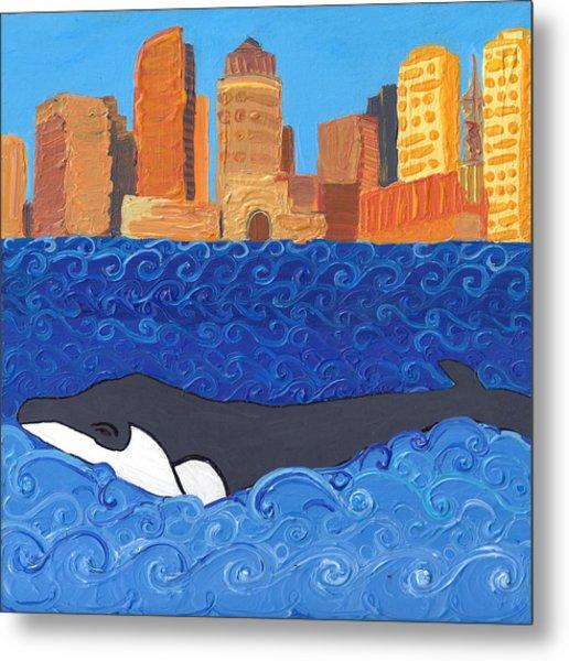 City Whale Metal Print