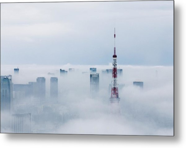 Cityscape And Tokyo Tower Covered In Metal Print by Tomoaki Nozawa / Eyeem