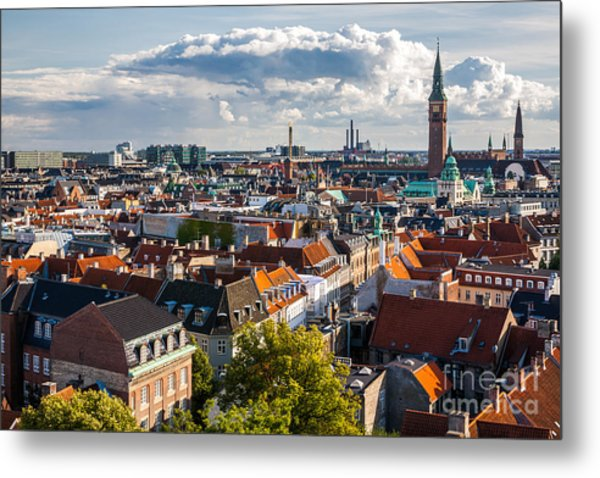 Cityscape Of Copenhagen From The Round Metal Print