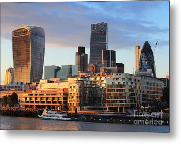 Cityscape Of London At Night, United Metal Print