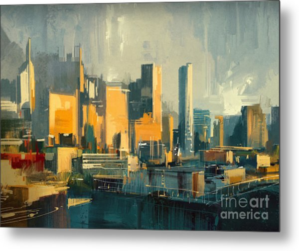 Cityscape Painting Of Urban Skyscrapers Metal Print
