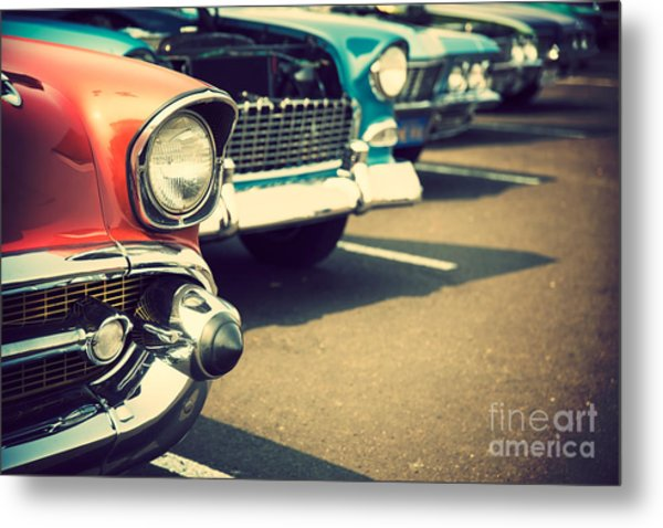 Classic Cars In A Row Metal Print by Topseller
