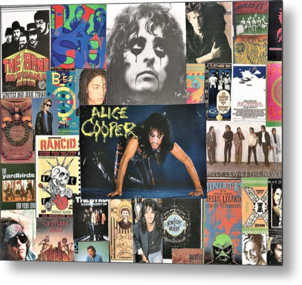Classic Rock Collage 15 Featuring Alice Cooper Metal Print