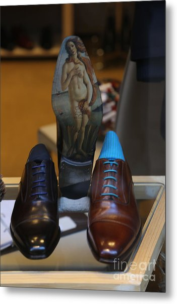 Classy Men Shoes Nyc Window  Metal Print