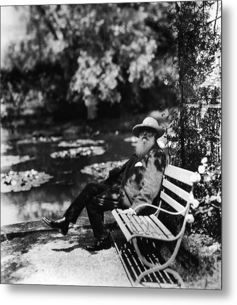 Claude Monet Sitting On Park Bench Metal Print