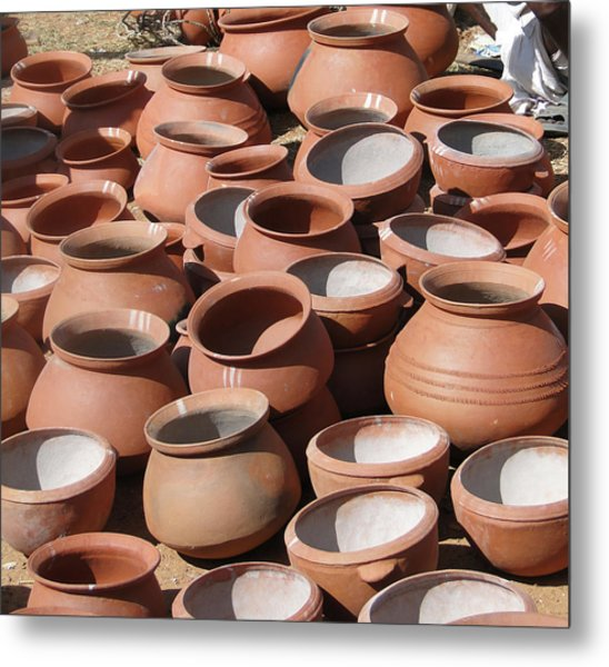 Clay Pots  For Sale In Chatikona  Metal Print